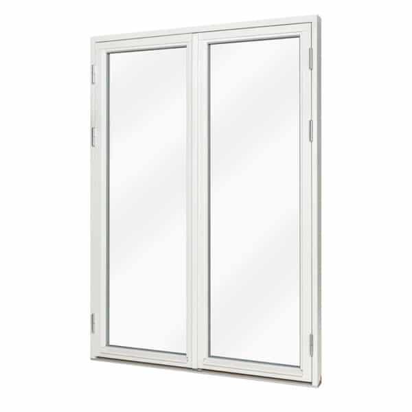Helglasad dubbeldörr i trä-aluminium